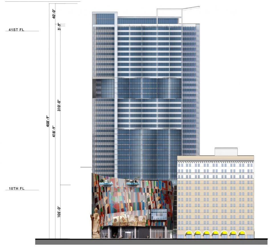 Western elevation plan for the Lake on Wilshire (Image: LADCP)